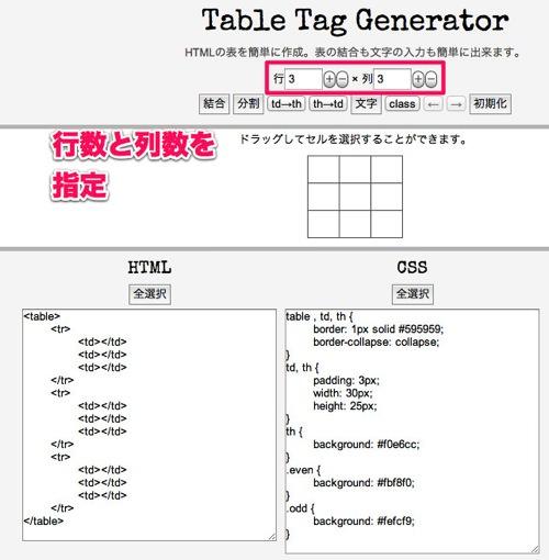 テーブルタグgenerator