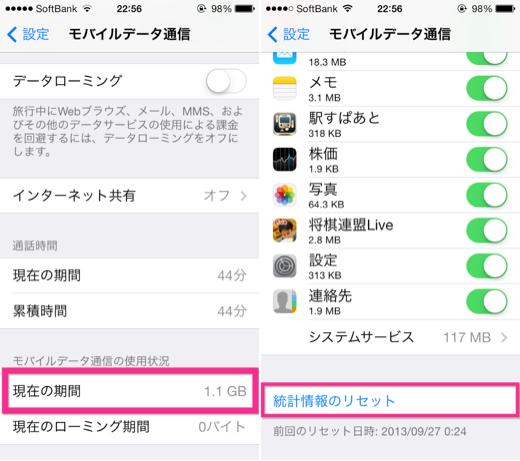 iPhoneの通信速度制限