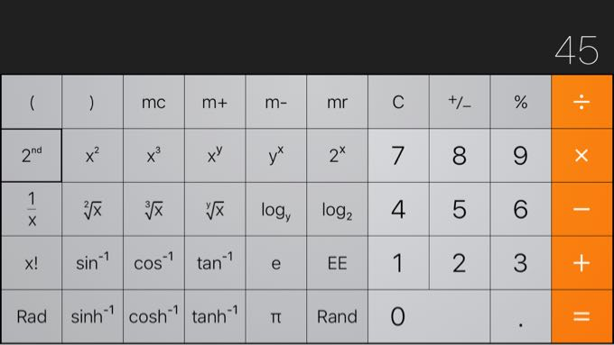 iphoneの関数電卓で逆関数(アークタンジェント)の計算
